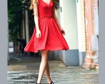 Cute silk spring dress (JS131)