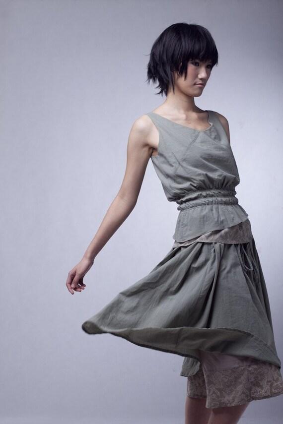 Highly detailed green dress AS056 / sleeveless dress summer dress cotton dress eco friendly long dress tailored dress two pieces