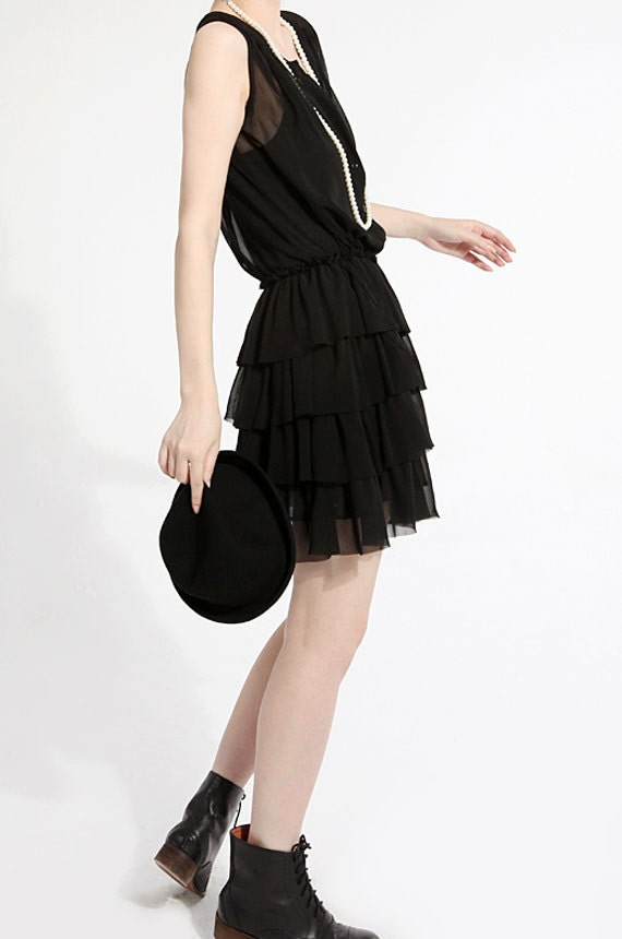 Chiffon dress  pink black dres ruffled layer cake dress sleeveless summer dress sundress bridesmaid (JS060)