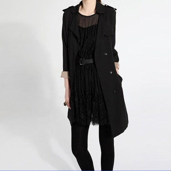 Black trench coat J026