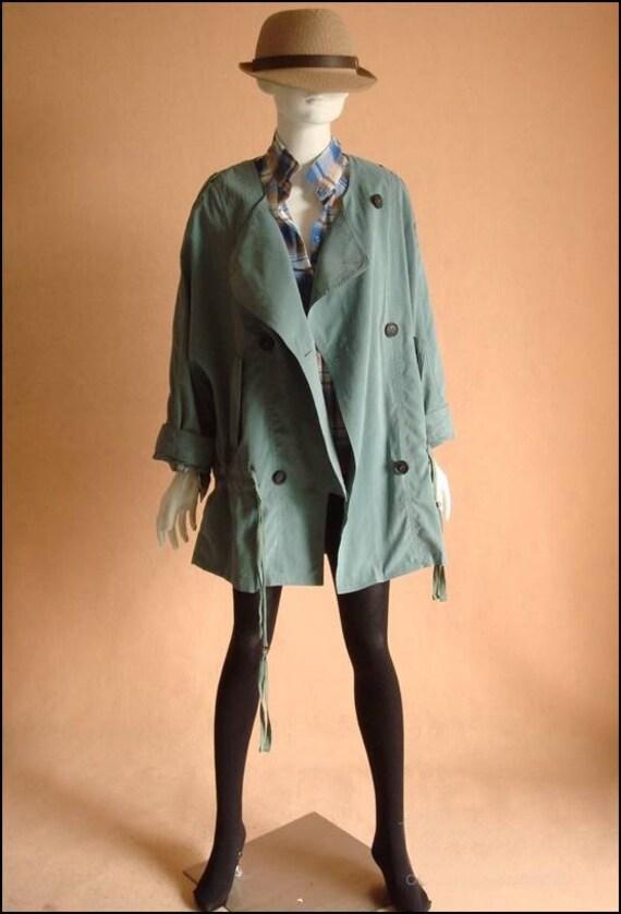 Oversized coat green / Fall coat/Jacket / trench coat (JS089)