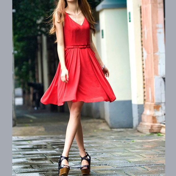 Cute silk spring dress (JS131)
