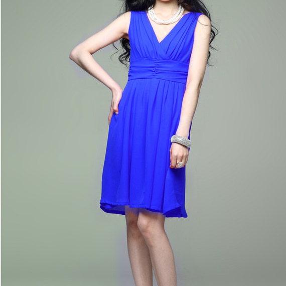 Elegant silk spring dress in blue (JS132)