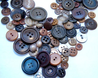 Lot of Brown Buttons Vintage