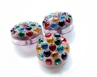 Rainbow Rhinestone Buttons Vintage