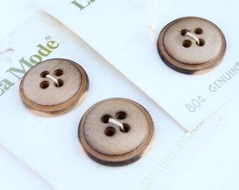 Wood Buttons - Vintage Set of 3