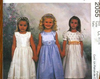 McCalls 2055 Girl's Dresses Sewing Pattern