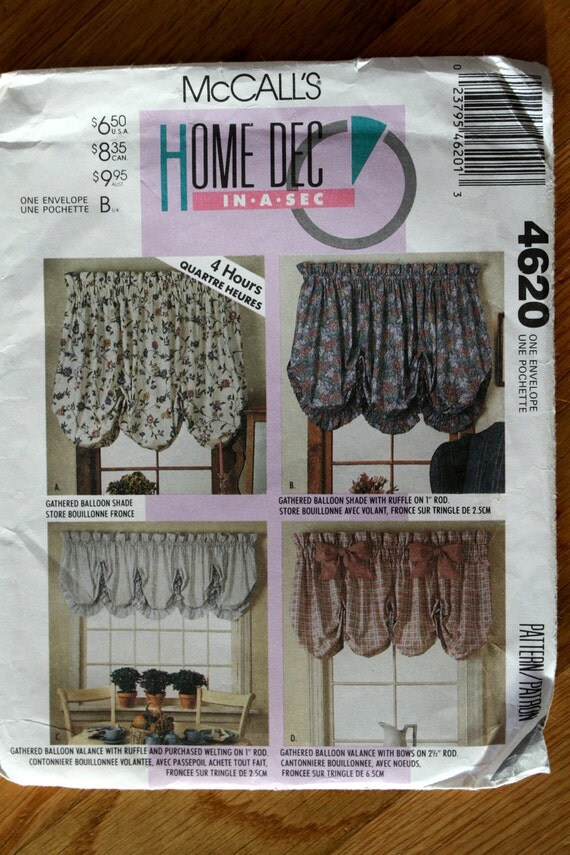 Mccalls 4620 Balloon Shades And Curtains Sewing Pattern