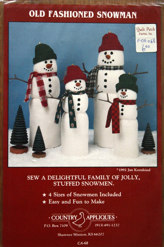 Old Fashioned Snowman Christmas Sewing Pattern