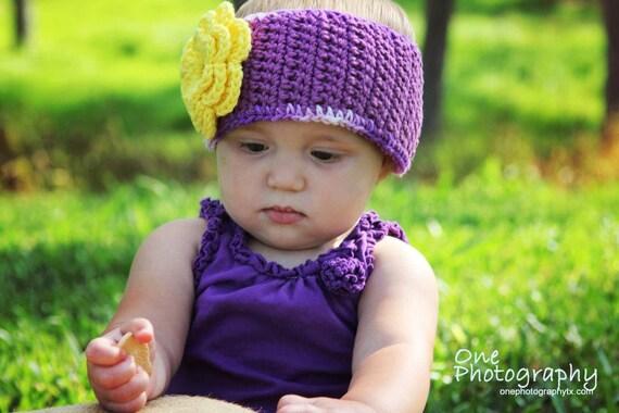 PDF Cotton Ear Warmer with Flower Blossom Crochet Pattern