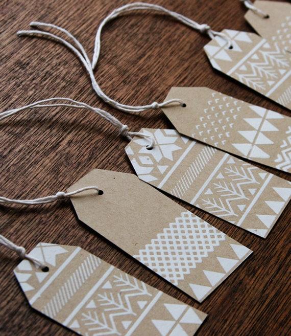 Fair Isle Gift tags, handmade, screen printed, kraft paper, pack of 10 tags