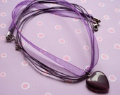 HOLIDAY SALE... Vivid purple necklace with cateye heart pendant