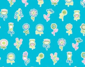 Summersault - Flowerpops in Turquoise by Erin McMorris for Freespirit Fabrics