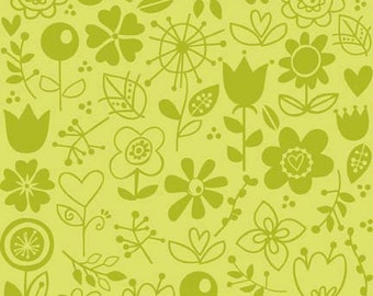 Sunny Happy Skies - Sunny Green Floral by Bella Blvd. for Riley Blake Designs