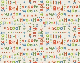 """Scoot - Words in Cream by Deena Rutter for Riley Blake Designs - 32"""" Remnant"""