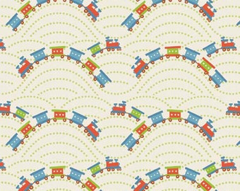 Scoot - Trains in Cream by Deena Rutter for Riley Blake Designs