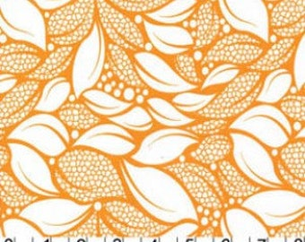 Lush - Tossed Leaves in Creamsicle by Patty Young for Michael Miller Fabrics