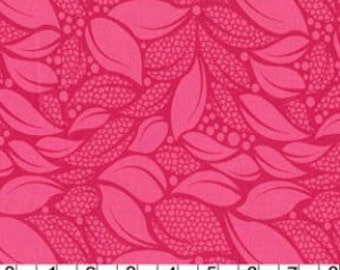 Lush - Tossed Leaves in Raspberry by Patty Young for Michael Miller Fabrics