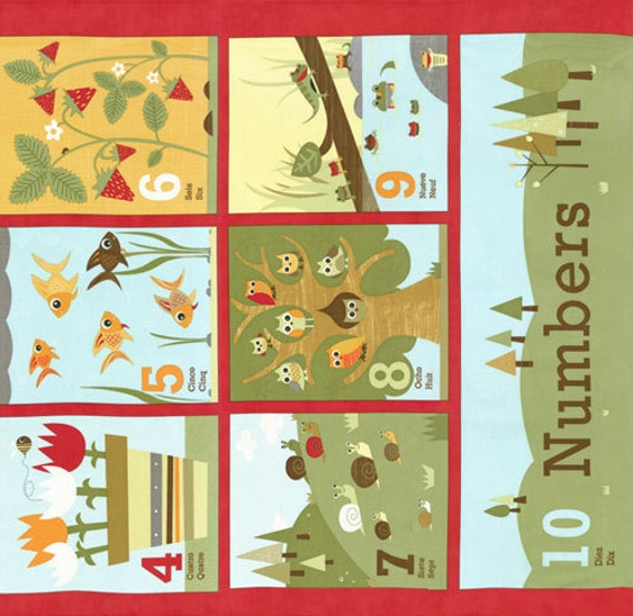 Ten Little Things Counting Book Panel in Red by Jenn Ski for Moda Fabrics - Last One