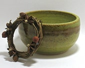 RESERVED FOR MELISSA - Green Bowl - Moss & Brown, ooak Fine Art Small Ceramic Serving Bowl