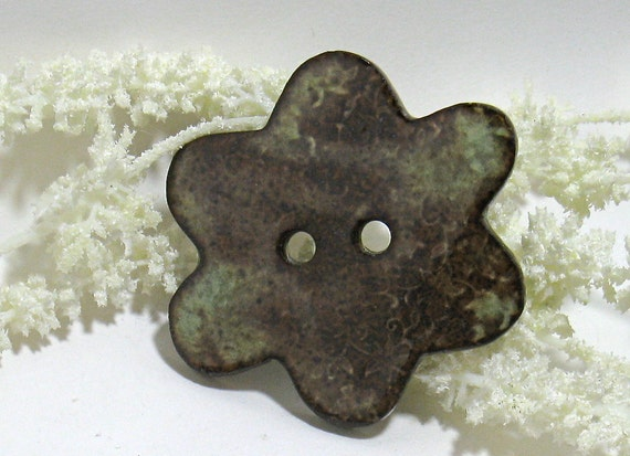 Green Brown Flower Button (OOAK Large Ceramic Focal Button)