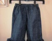 Dark Denim Ruffle Pants or Capris... Sizes Newborn to 4T