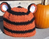 Made to order Tiger Hat - Crochet-Custom Made It's GRREAT -Gift--winter wear with ears