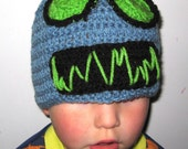 Kids ELECTRIC ROBOT hat, Pale Blue with lime green eyes-winter beanie UNIQUE fun. Made to Order