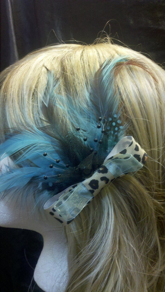 SALE- Leopard Print Bow With Feathers  Hair clip