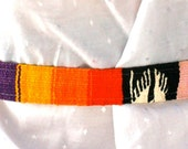 Colorful woven yarn belt with leather buckle