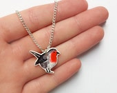 Illustrated red robin necklace