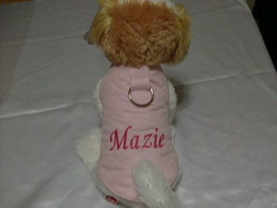 Pink monogrammable Dog Harnessed Vest-Coat