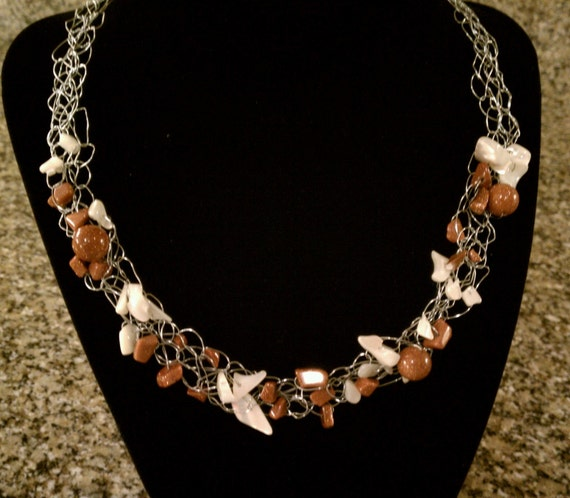 Pay it Forward - Gold Stone Sparkle Crochet Necklace
