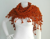 Organic Cotton Triangular Shawl - Burnt Orange Color - Jasmine