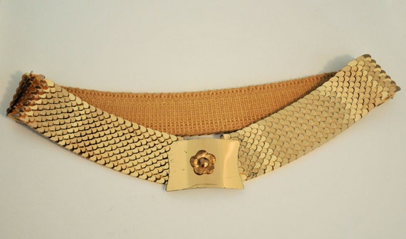 Goldtone Fishscale Belt- S M 1950s 60s Unique