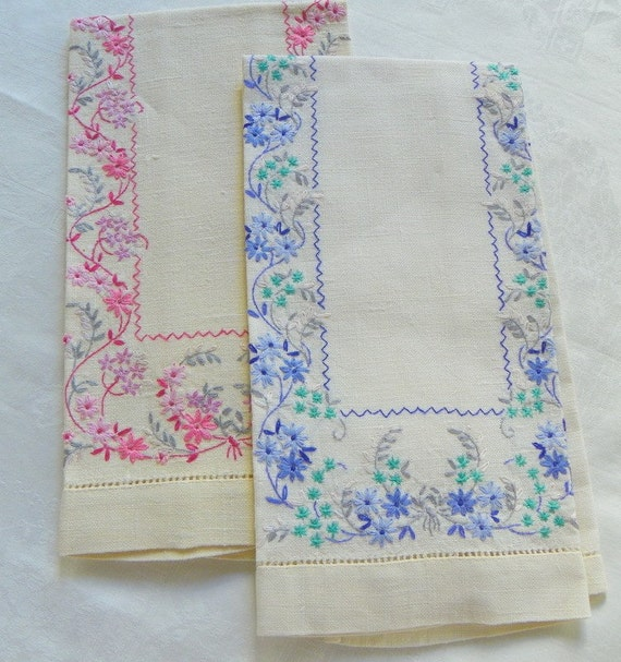 Guest Towels Linen: Vintage Linen Hand Embroidered Guest Towels Set Of Two