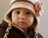 Girl Organic Hat, 2T to 4T Organic Toddler Girl Hat, Organic Earflap, Cream, Brown and Strawberry Pink, with Flower. Very Soft. Photo Props.