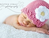 Baby Girl Hat, 3 to 6 Months Baby Girl Hat, Crochet Baby Flapper Beanie, Rose Pink with White and Yellow flower. Photo Props. Baby Gift.
