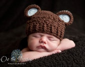 NEWBORN Baby Boy Hat, 0 to 1 Months Baby Boy Monkey Hat, Baby Flapper Hat, Chocolate Brown, Pale Blue Ears. Baby Photo Props. Baby Gift.