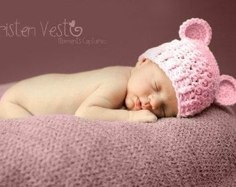 Baby Girl Hat, 6 to 12 Months Baby Girl Hat, Baby Girl Monkey Hat, Baby Handmade Hat, Baby Pink with Ears. Great for Photo Props. Baby Gift.