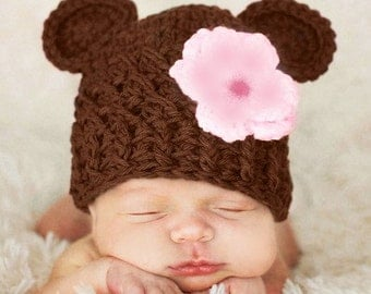 Newborn Baby Girl Hat, 0 to 1 Months Baby Girl Monkey Hat, Baby Flapper Beanie, Chocolate Brown, Baby Pink and Rose Pink Flower. Photo Props