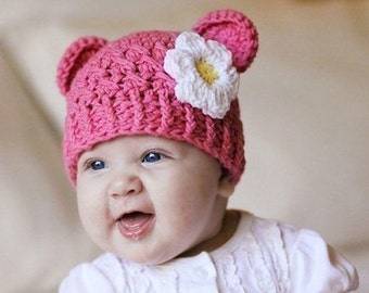 Baby Girl Hat, 6 to 12 Months Monkey Baby Girl Hat, Baby Flapper Beanie, Rose Pink with White and Yellow Flower. Great for Photo Props.
