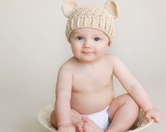 Boy Hat, 12 to 24 Months Teddy Bear Hat, Baby Boy Teddy Bear Hat, Handmade Hat,  Beige with Ears. Great for Photo Props. Baby Gift.