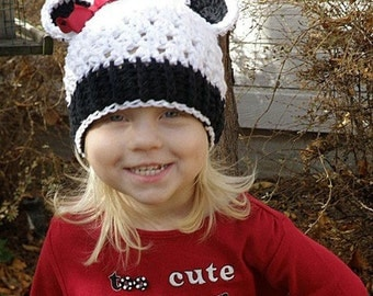 12 to 24 Months Panda Hat, Flapper Panda Beanie, White, Black with Red Bow. Super Cute for Girl or Boy. Panda Hat. Panda Girl Hat.