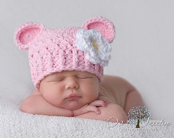 Baby Girl Hat, 0 to 3 Months Girl Hat, Baby Girl Monkey Hat, Baby Pink, White and Yellow Flower. Professional Photo Props. Baby Shower Gift.