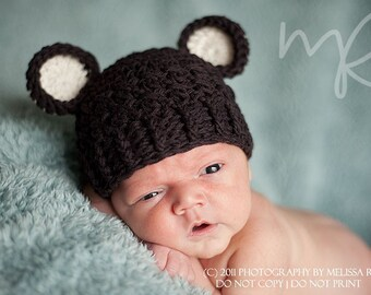 Baby Boy Hat, Newborn 0 to 1 Months Baby Boy, Chunky Monkey Flapper Hat, Coffee Bean Brown with Cream Ears. Newborn Photo Props. Baby Gift.