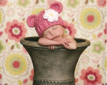 Newborn Baby Girl Hat, 0-1 Months Baby Girl Monkey Hat, Rose Pink with White and Yellow Flower. Great for photo shoots. Gift.