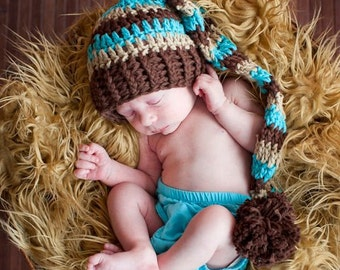 Baby Boy Stocking Hat, Baby Boy Hat, Chocolate Brown, Beige,Turquoise, Pom Pom. Long Tale Hat, Stocking Hat, Photo Props. Baby Gift. Kids