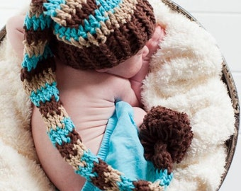 Boy Stocking Hat, Infant Elf Hat, Newborn Longtale Hat, Photo Shoot, Birth Announcement Cards, Chocolate Brown, Beige, Turquoise, Pom Pom