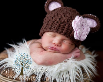 Baby Girl Hat, 0 to 3 Months Baby Girl Hat, Baby Girl Monkey Hat, Chocolate Brown and Pale Pink Ears with Flower. Great for photo props.